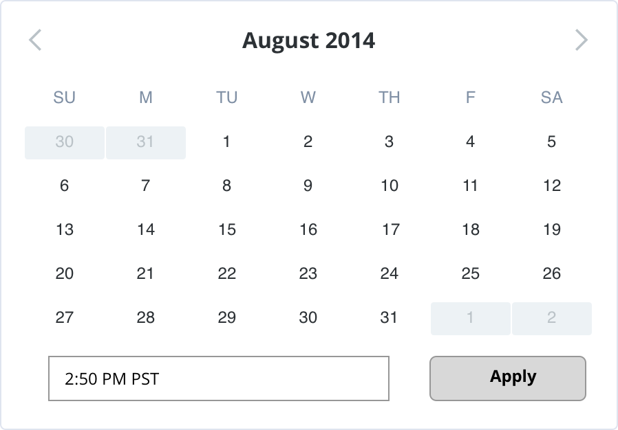 Image shows the date picker control available in the UXDG library